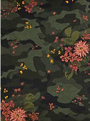 Camo & Floral Burnout Fleece Off Shoulder Sweatshirt , , alternate