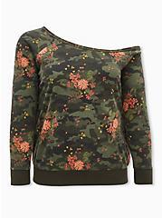 Camo & Floral Burnout Fleece Off Shoulder Sweatshirt , , hi-res