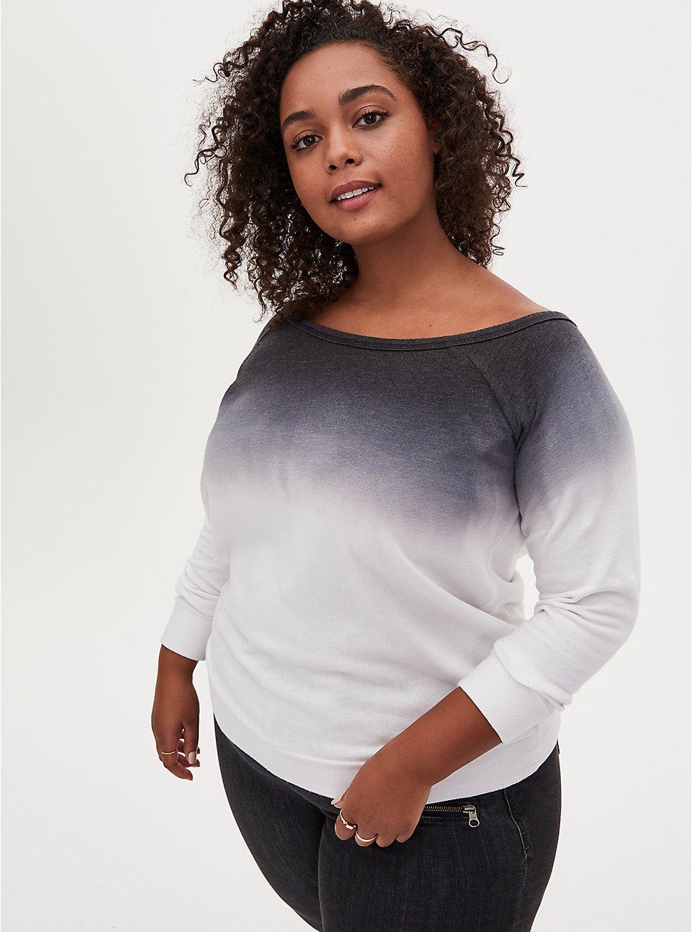 Black Ombre Off Shoulder Sweatshirt, DEEP BLACK, hi-res