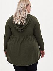 Super Soft Plush Olive Green Babydoll Hoodie, DEEP DEPTHS, alternate