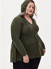 Super Soft Plush Olive Green Babydoll Hoodie, DEEP DEPTHS, hi-res