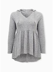 Super Soft Plush Light Grey Babydoll Hoodie, , hi-res