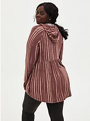 Super Soft Plush Walnut Stripe Babydoll Hoodie, , alternate