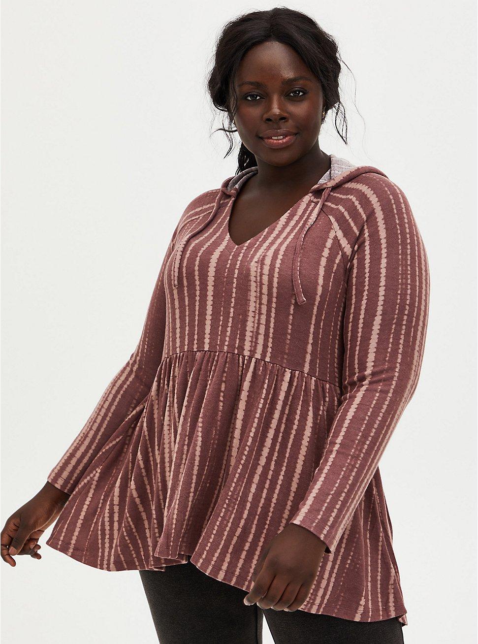 Super Soft Plush Walnut Stripe Babydoll Hoodie, , hi-res