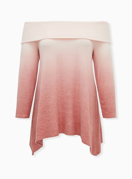 Super Soft Plush Dusty Coral Ombre Sharkbite Foldover Off Shoulder Tunic, , ls