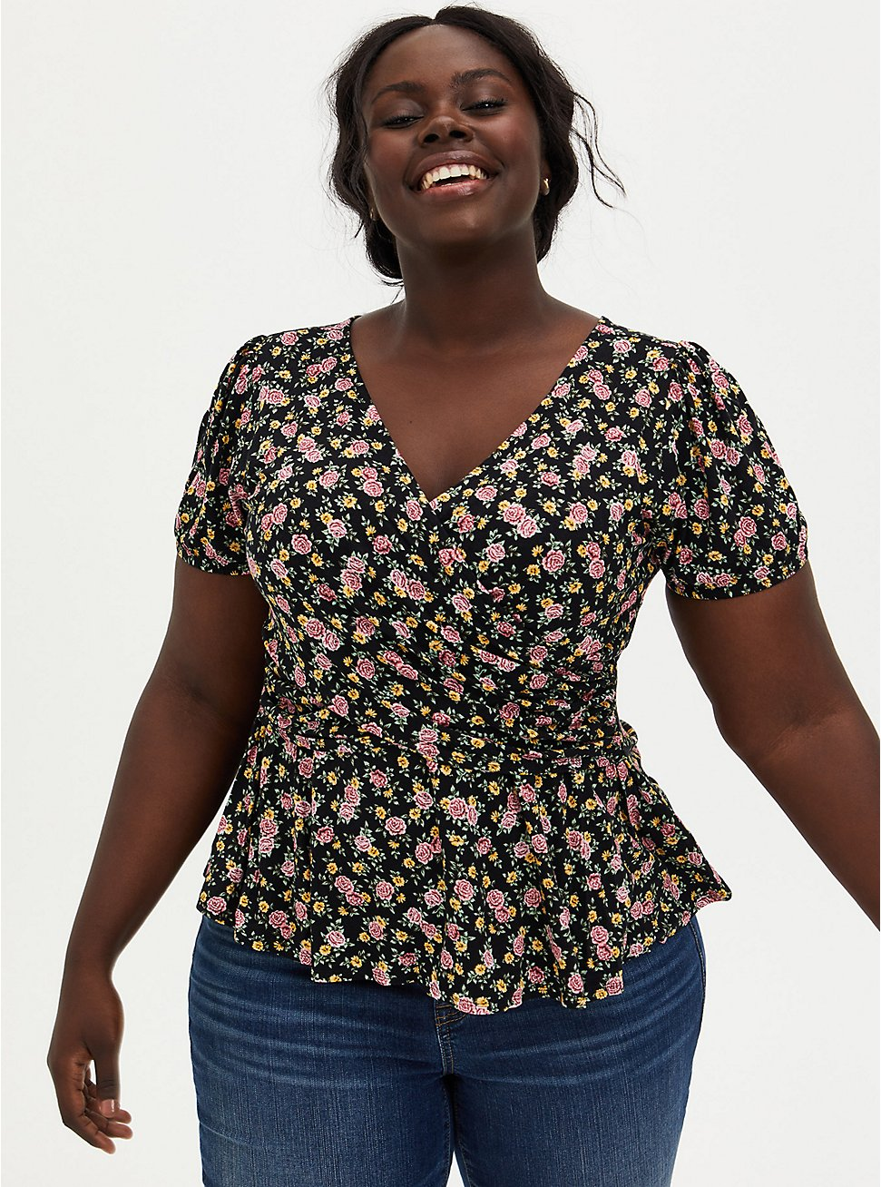 Super Soft Black Ditsy Floral Surplice Midi Top, DEEP BLACK, hi-res