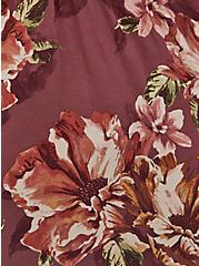 Super Soft Walnut Floral Lattice Long Sleeve Babydoll Tee, , alternate