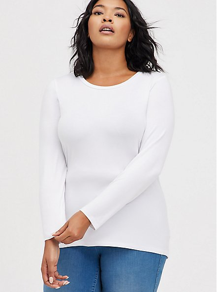 Long Sleeve Crew Tee - Super Soft White , BRIGHT WHITE, hi-res