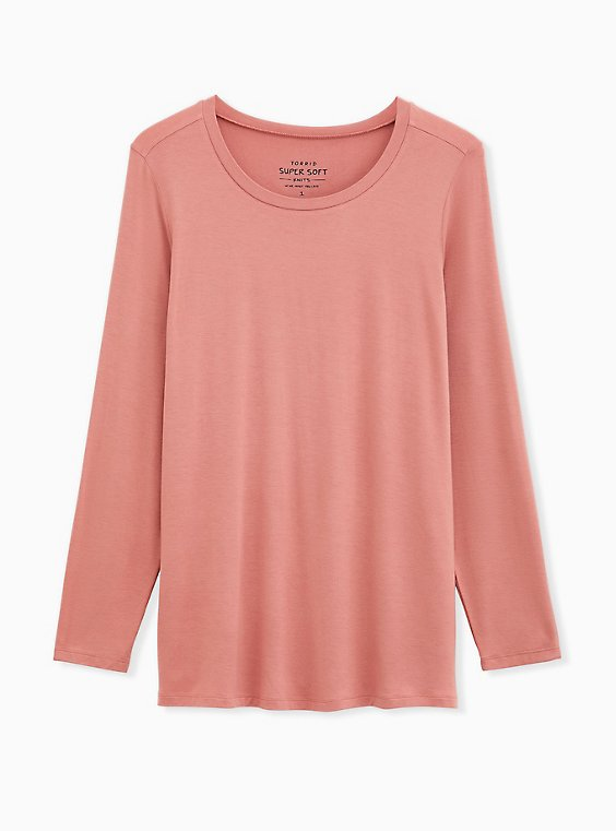 Long Sleeve Crew Tee - Super Soft Dusty Coral , DESERT SAND, ls