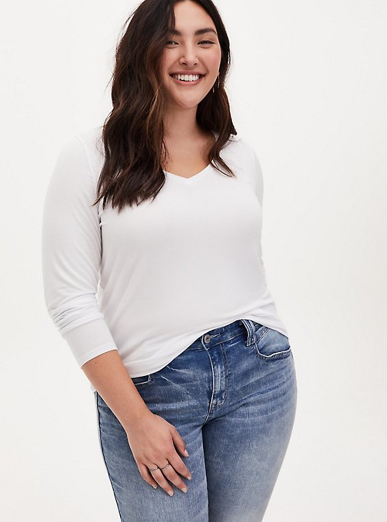 Long Sleeve V-Neck Tee - Super Soft White , BRIGHT WHITE, hi-res