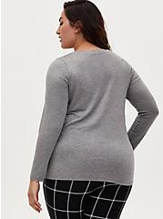 Long Sleeve V-Neck Tee - Super Soft Heather Grey , HEATHER GREY, alternate