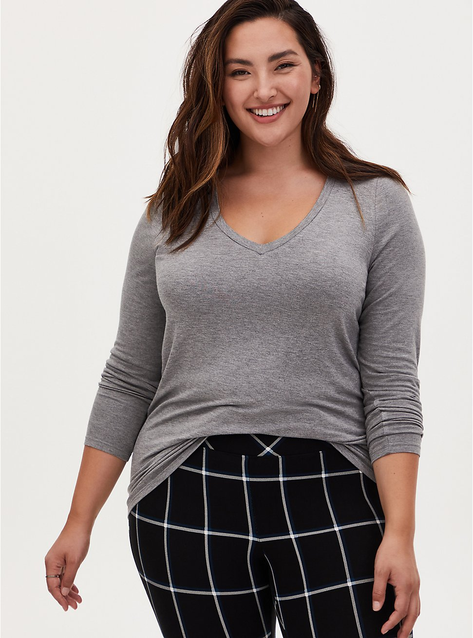 Long Sleeve V-Neck Tee - Super Soft Heather Grey , HEATHER GREY, hi-res