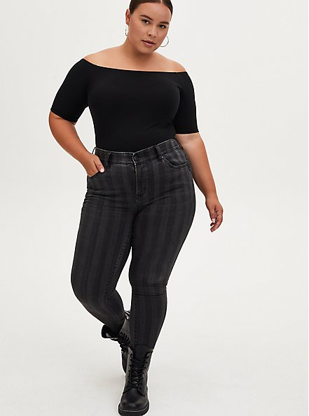 Black Off Shoulder Foxy Bodysuit , DEEP BLACK, alternate
