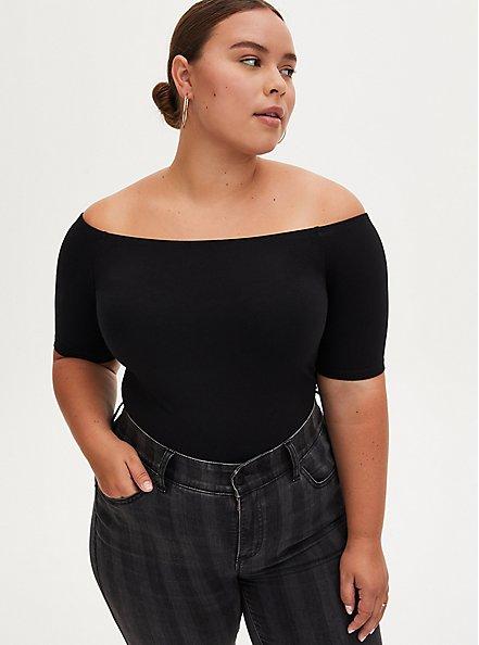 Black Off Shoulder Foxy Bodysuit , DEEP BLACK, hi-res