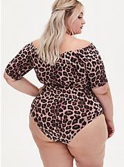 Leopard Off Shoulder Foxy Bodysuit , , alternate