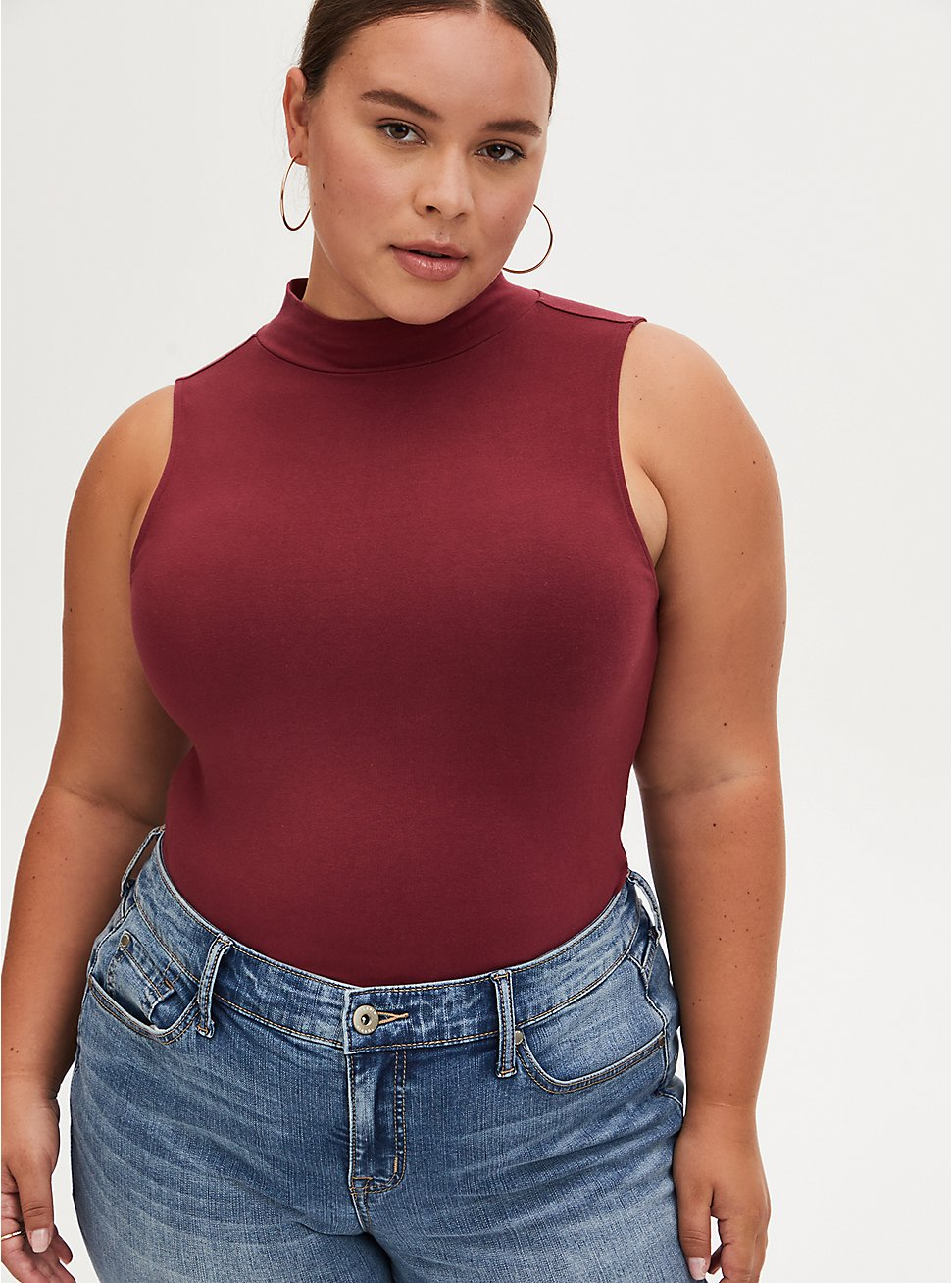 Plus Size Brick Red Mock Neck Foxy Tank, , hi-res
