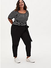 Black & White Stripe Rib Henley Tee, DEEP BLACK, alternate