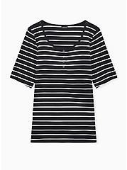 Black & White Stripe Rib Henley Tee, DEEP BLACK, hi-res