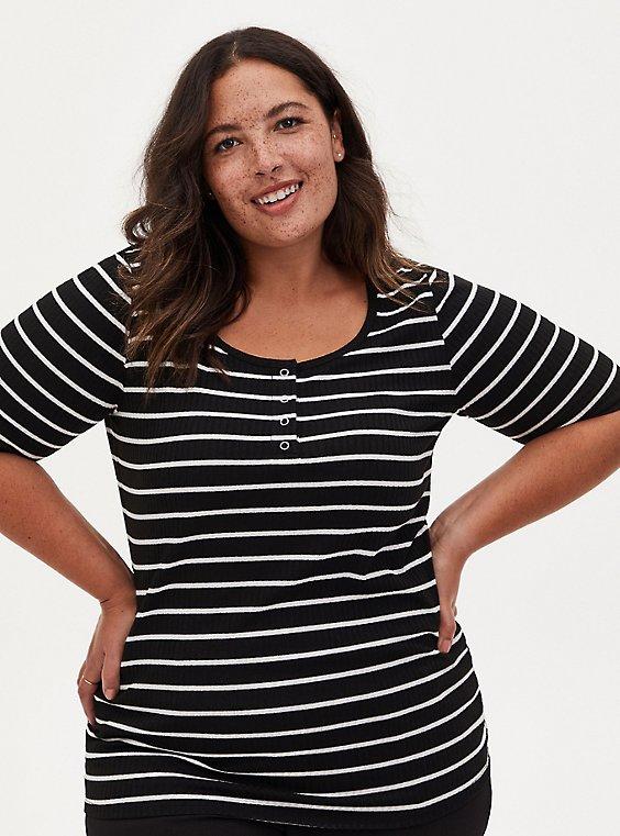 Black & White Stripe Rib Henley Tee, , hi-res