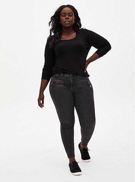 Long Sleeve Scoop Neck Tee - Super Soft Black, DEEP BLACK, alternate