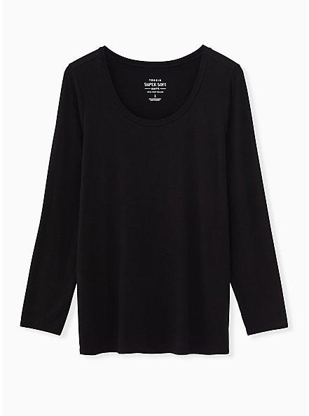 Long Sleeve Scoop Neck Tee - Super Soft Black, DEEP BLACK, hi-res