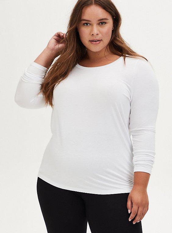 Long Sleeve Scoop Neck Tee - Super Soft White, , hi-res