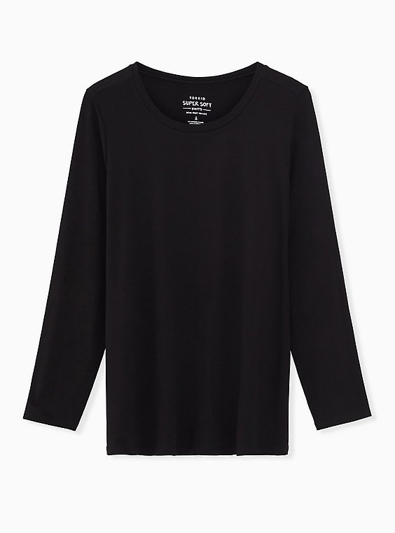 Long Sleeve Crew Tee - Super Soft Black , DEEP BLACK, ls