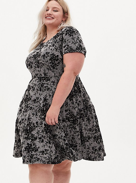 Heather Grey Floral Sweater Skater Dress, , hi-res