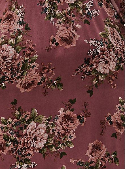 Pink Floral Chiffon Surplice Midi Dress, FLORAL - PINK, alternate