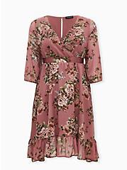 Pink Floral Chiffon Surplice Midi Dress, FLORAL - PINK, hi-res