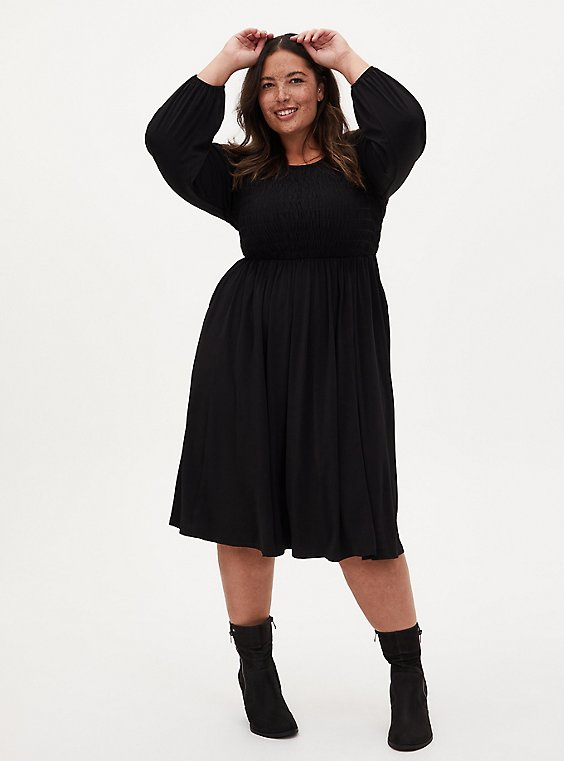 Black Studio Knit Smocked Midi Dress, DEEP BLACK, hi-res