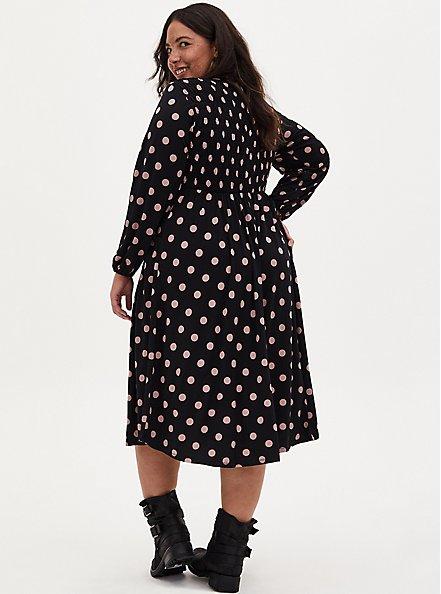 Black & Pink Polka Dot Studio Knit Smocked Midi Dress, DOT -BLACK, alternate