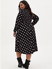Black & Pink Polka Dot Studio Knit Smocked Midi Dress, DOT -BLACK, alternate