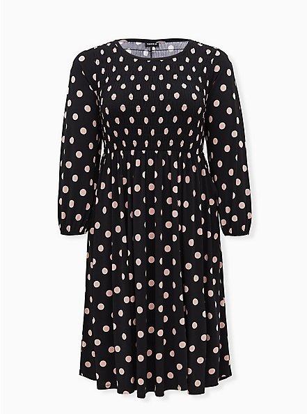 Black & Pink Polka Dot Studio Knit Smocked Midi Dress, DOT -BLACK, hi-res