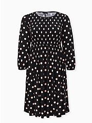 Black & Pink Polka Dot Studio Knit Smocked Midi Dress, DOT -BLACK, hi-res