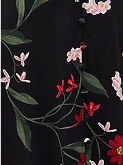 Black Floral Button Front Midi Dress, FLORAL - BLACK, alternate