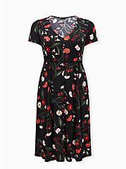 Black Floral Button Front Midi Dress, FLORAL - BLACK, hi-res