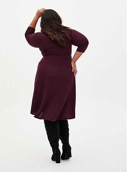Super Soft Plush Burgundy Purple Mini Skater Dress, WINETASTING, alternate