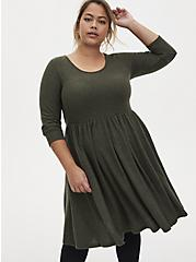 Super Soft Plush Olive Green Skater Dress, DEEP DEPTHS, alternate