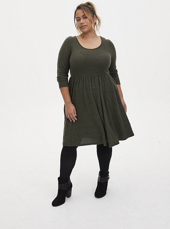 Super Soft Plush Olive Green Skater Dress, DEEP DEPTHS, hi-res