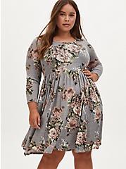 Grey Floral Hacci Knit Skater Dress, FLORAL - IVORY, alternate