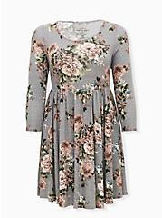 Grey Floral Hacci Knit Skater Dress, FLORAL - IVORY, hi-res