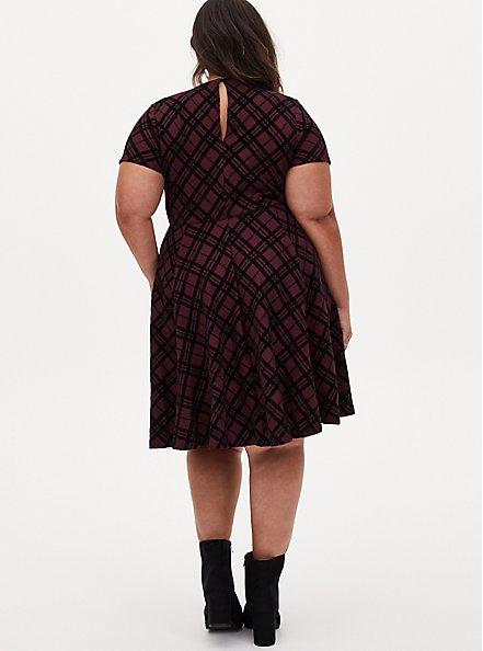 Burgundy Plaid Sweater Skater Dress, PLAID - PURPLE, alternate