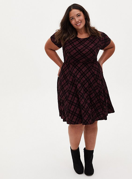 Burgundy Plaid Sweater Skater Dress, PLAID - PURPLE, hi-res