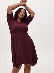 Burgundy Purple Rib Handkerchief Skater Dress, WINETASTING, alternate