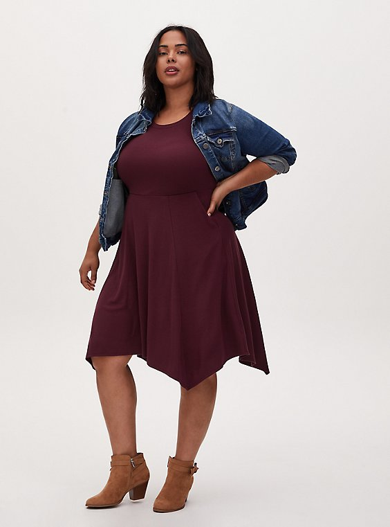 Burgundy Purple Rib Handkerchief Skater Dress, , hi-res