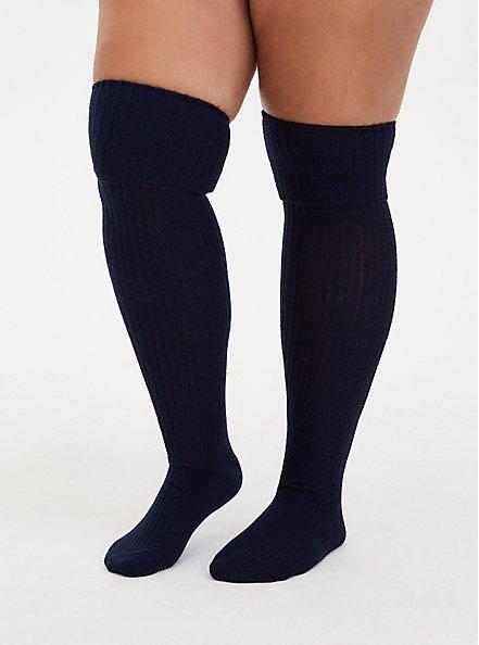 Navy & Oatmeal Cotton Knee-High Socks Pack - Pack of 2, MULTI, alternate