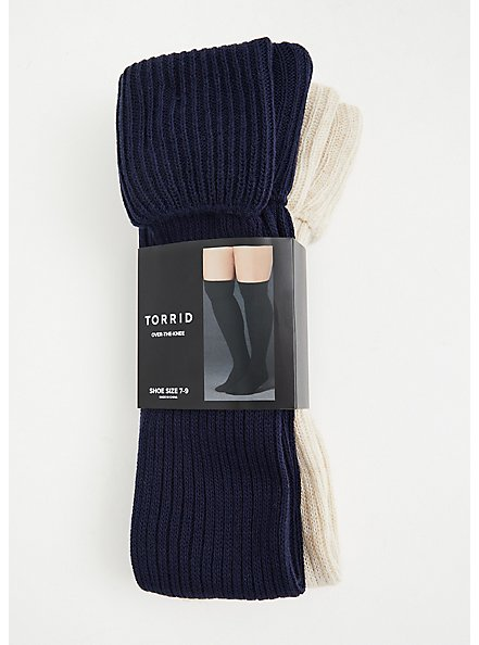 Navy & Oatmeal Cotton Knee-High Socks Pack - Pack of 2, MULTI, hi-res