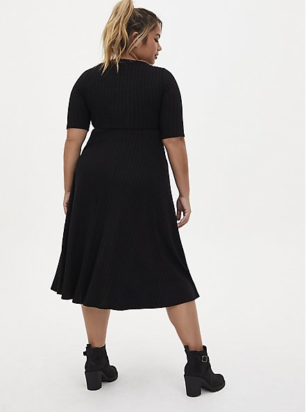 Super Soft Plush Black Midi Skater Dress, DEEP BLACK, alternate