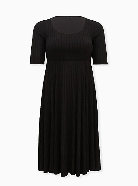 Super Soft Plush Black Midi Skater Dress, DEEP BLACK, hi-res
